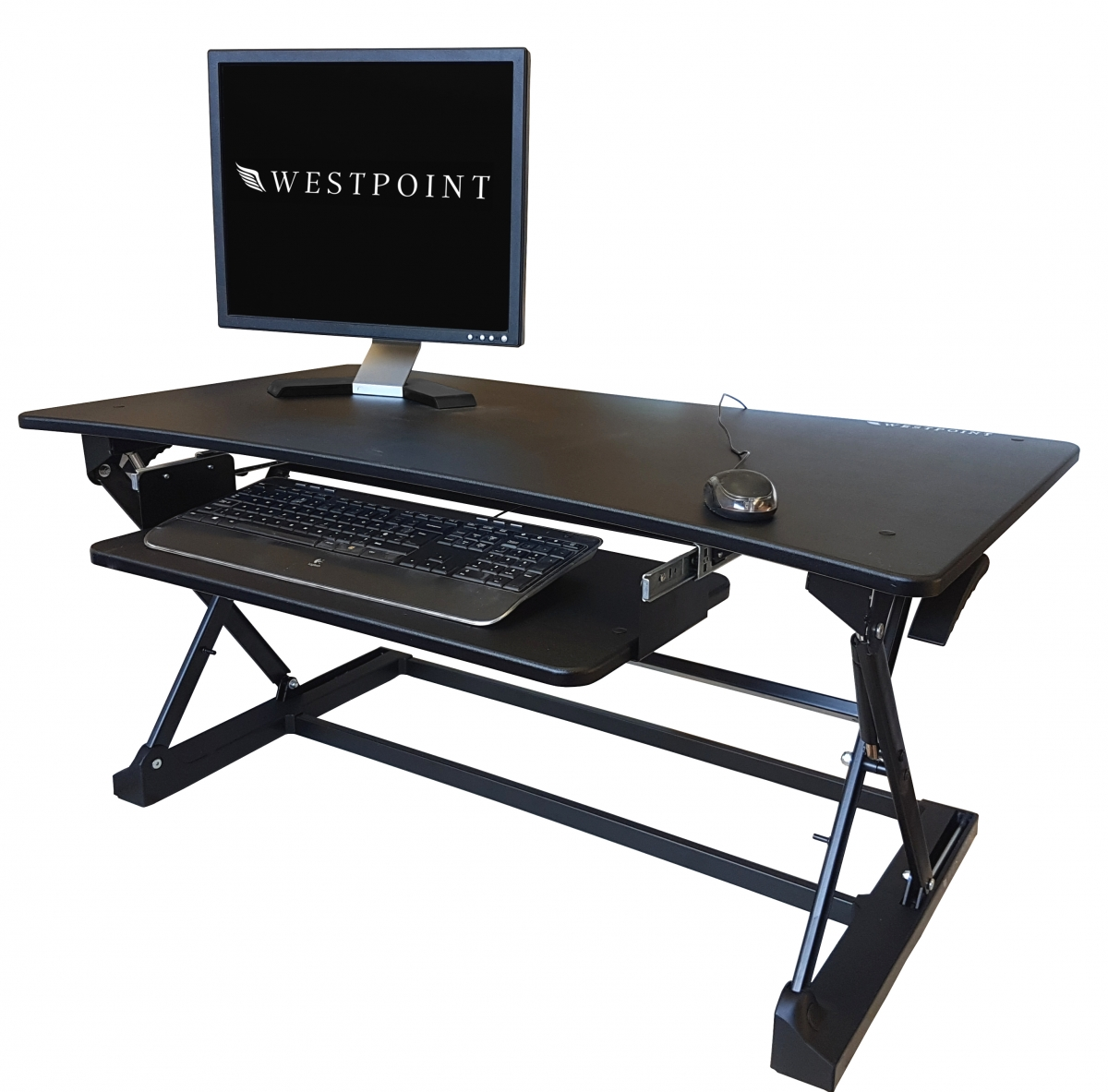 Ergonomic standing desk height adjustable sit stand up computer workstation tray desktop