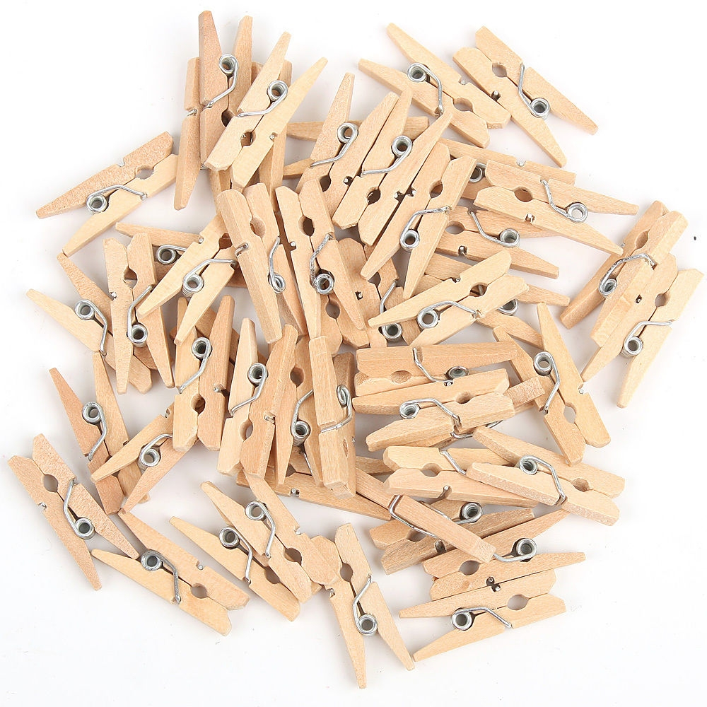 25mm 25mm Small Plain Wooden Craft Pegs Mini Clip Metal Springs IVORY