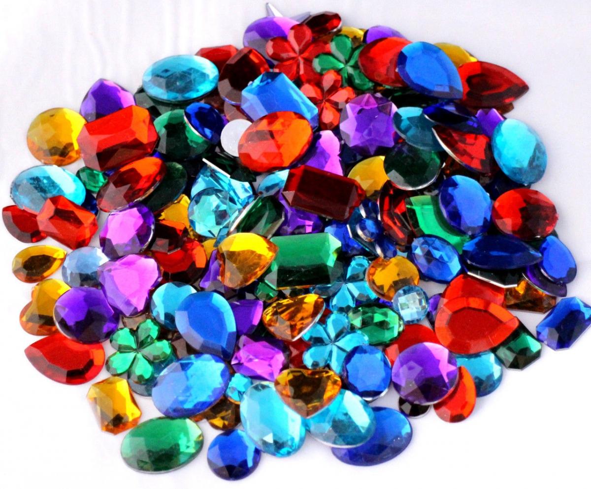 Mixed Acrylic Jewels Gemstones Card Making Crafts Embellishments Large 25G Bag Size