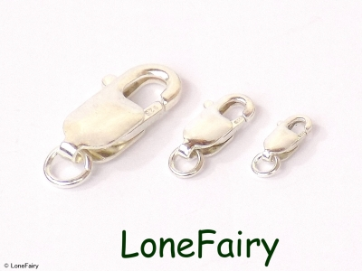 Solid 925 Sterling Silver Trigger /& Turnable Carabiner Clasps with Jump Ring
