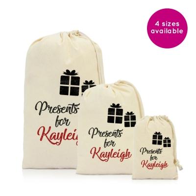 Personalised Christmas bag santa sack stocking drawstring kids gift Medium 40x50