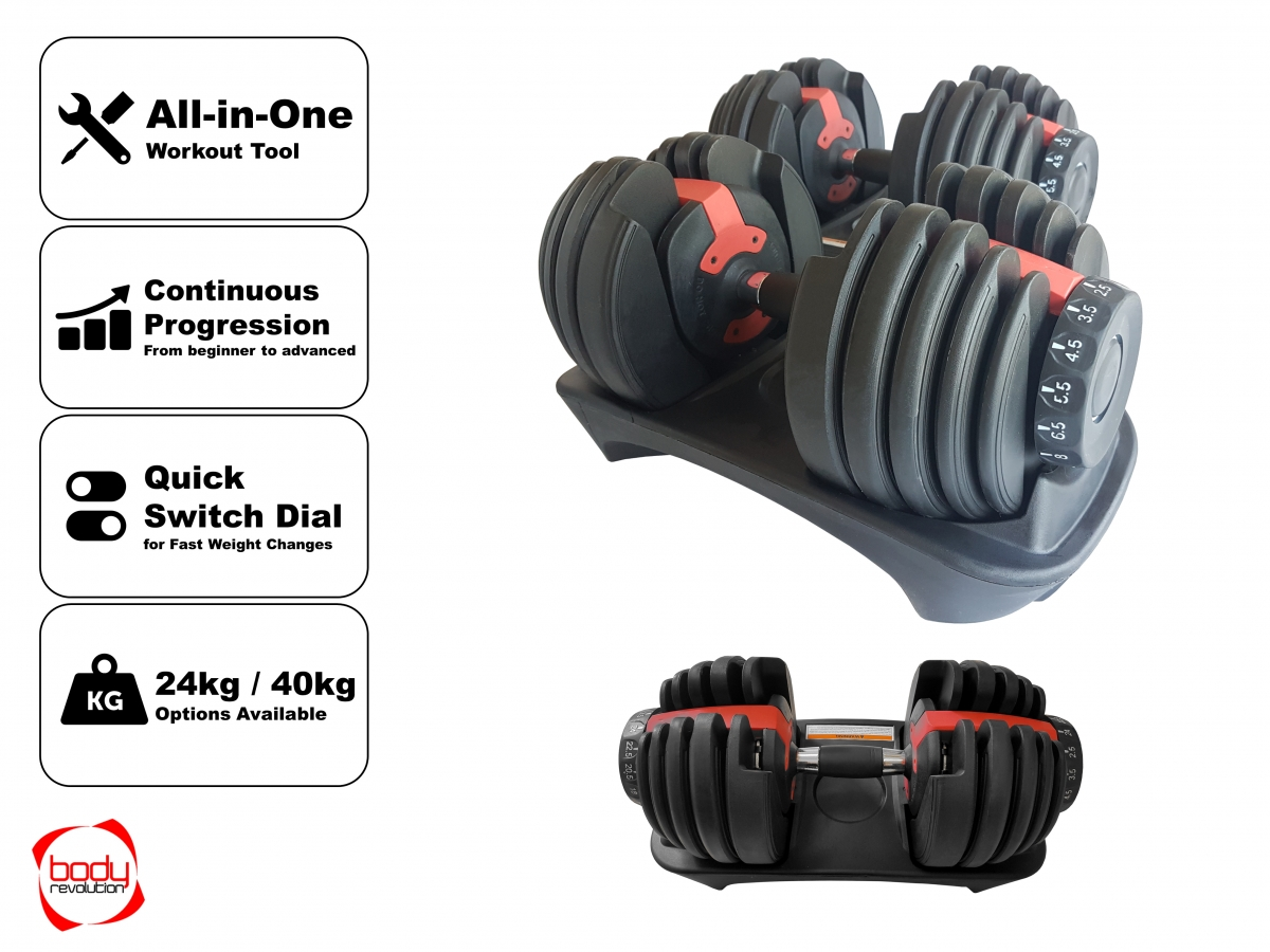 2bc92ec8b4f Adjustable Dumbbells Set - Selectable Weights for Home Gym Training - 24kg  40kg - workout equipment