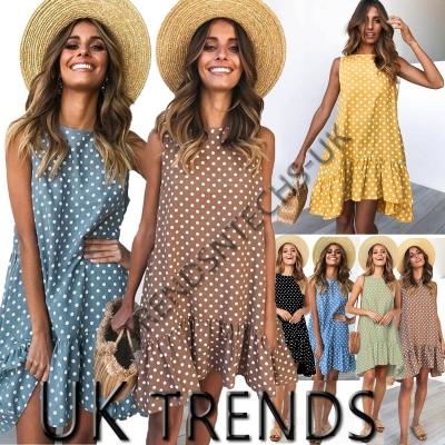 UK Women Ladies Summer Dress Smock Beach Holiday Casual Ruffled Mini Size 6-16