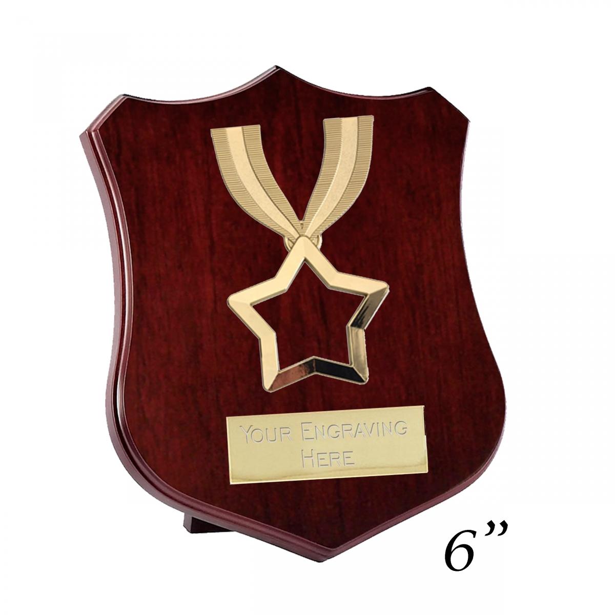 "Ribbon Star Triumph Wooden Shield Trophy Award 8/""   FREE ENGRAVING"