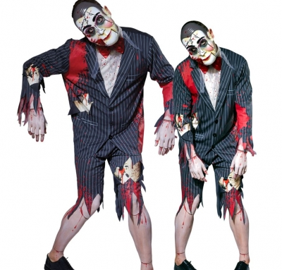 Mens PUTRID PUPPET MASTER Halloween Fancy Dress Costume Ventriloquist Dummy Male