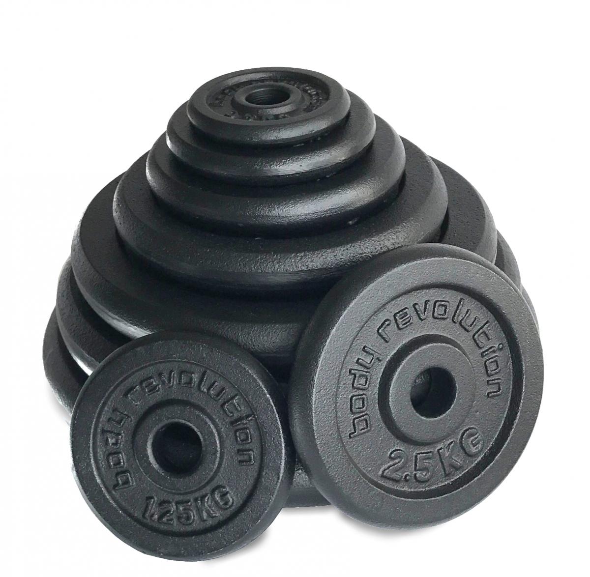 BodyRip Cast Iron 1 Standard 2 x 25kg Weight Plates Discs Weights Gym Muscle Fitness