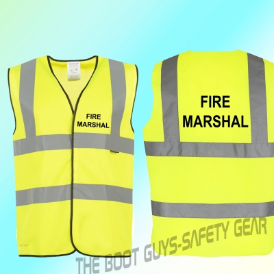 FIRE MARSHAL Hi Vis Hi Viz High Visibility Reflective Safety Vest//Waistcoat