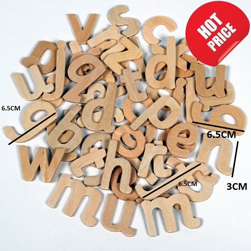 60 craft alphabet wooden lower case letters educational for Small wooden letters for crafts